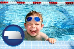 nebraska a boy in a swimming pool