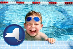 new-york a boy in a swimming pool