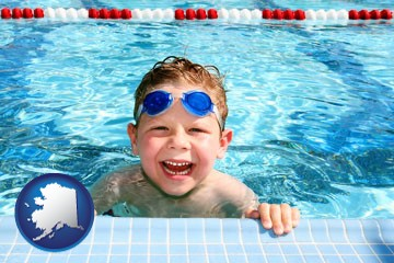 a boy in a swimming pool - with Alaska icon