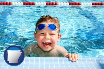 a boy in a swimming pool - with Arkansas icon