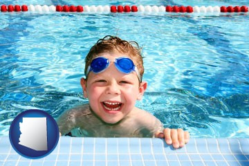 a boy in a swimming pool - with Arizona icon