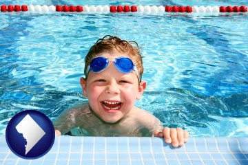 a boy in a swimming pool - with Washington, DC icon