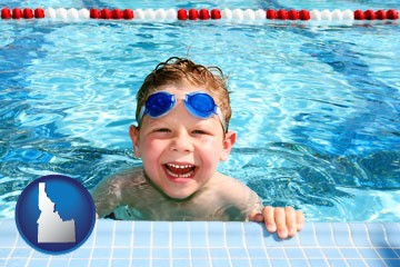 a boy in a swimming pool - with Idaho icon
