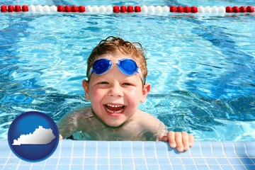 a boy in a swimming pool - with Kentucky icon