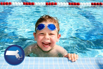 a boy in a swimming pool - with Massachusetts icon