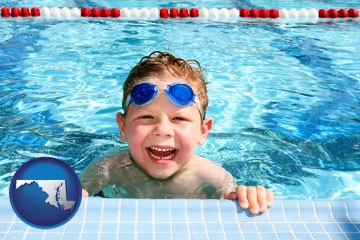 a boy in a swimming pool - with Maryland icon