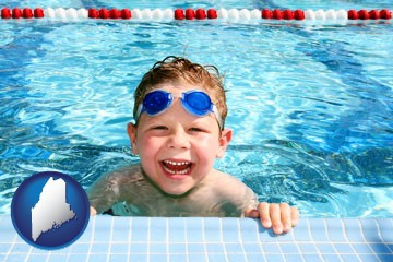 a boy in a swimming pool - with Maine icon