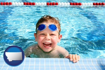 a boy in a swimming pool - with Montana icon