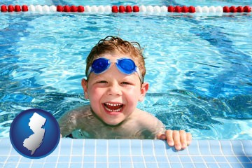 a boy in a swimming pool - with New Jersey icon