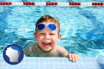 a boy in a swimming pool - with Wisconsin icon