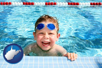 a boy in a swimming pool - with West Virginia icon