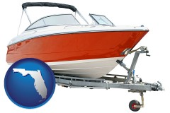 florida map icon and a boat trailer