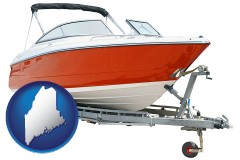 maine map icon and a boat trailer