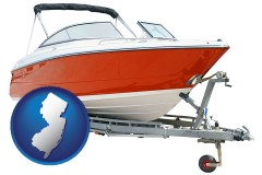 new-jersey map icon and a boat trailer