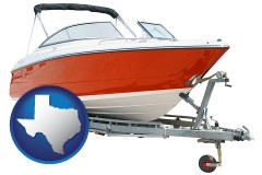 texas map icon and a boat trailer