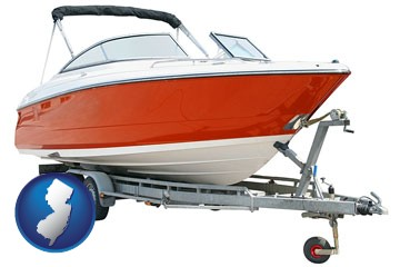a boat trailer - with New Jersey icon