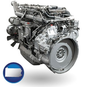 a truck engine - with Pennsylvania icon