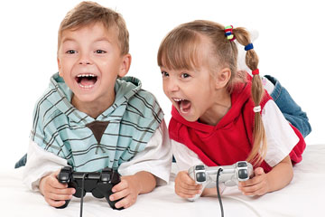 children playing a video game