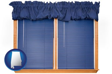 window blinds and valance curtains - with Alabama icon