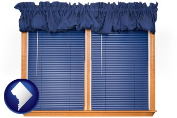 window blinds and valance curtains - with Washington, DC icon