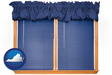 window blinds and valance curtains - with Virginia icon